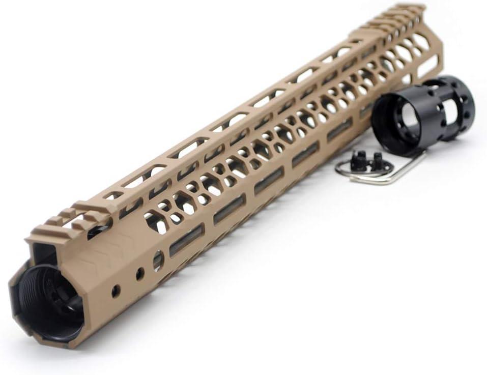 TRIROCK NSR Style Tan//FDE 15 inches M-LOK Free Float AR15 handguard Beveled Edge fits .223//5.56 Rifles with Steel Barrel nut