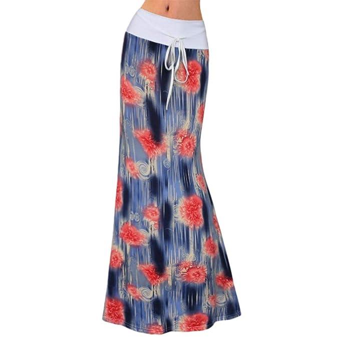 Qijinlook 💖 Floral pequeña Falda Larga Mujer💖Falda de Cola de ...