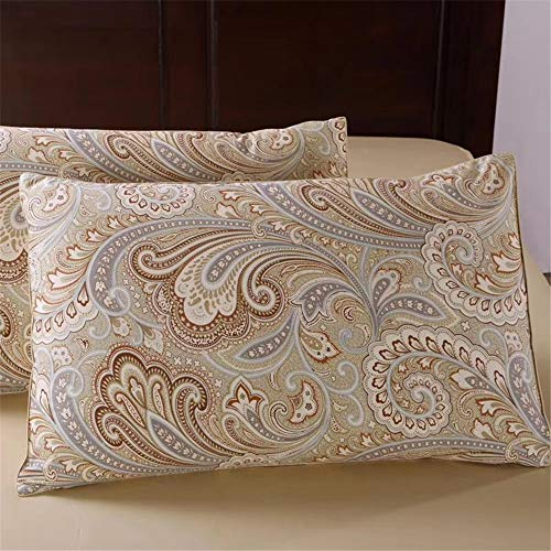 - YIH Paisley Pillow Cases Queen Size Set of 2, 100% Cotton Standard Pillowcase Size 20X30 Inch