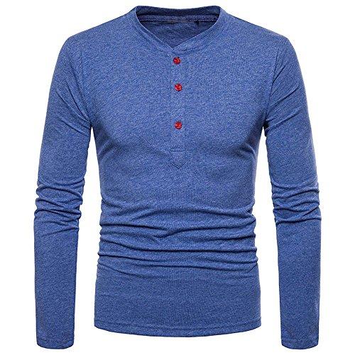 ZEFOTIM Fashion Men's Personality Slim Fit Casual Long Sleeve Solid Shirt Top ()