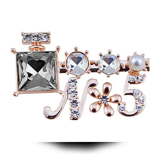 Perfume Bottles Letter Rhinestone Pearl Brooch Pin Clip Lapel Sticker Shawl Scarf - Me Suit What Spectacles