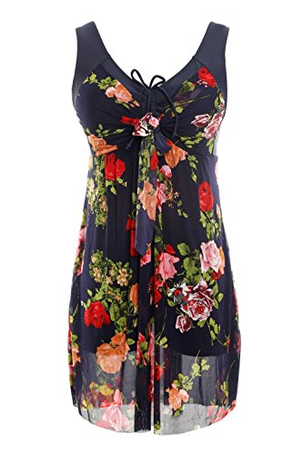 NoNoCat Flower Printing Modest 1 Piece Swimwear Cover Up swimdress Plus Size for Women