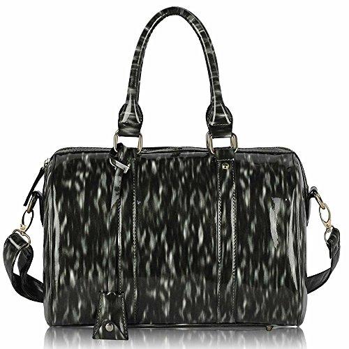 Asa De hombro Trendstar En La parte superior De La moda De las mujeres bolsos De mano, piel sintética, ORT.K7051-Petate Célébrité Style A F - Black