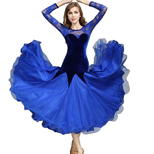 YuLin National Standard Dance Dresses Velvet Lace Womens Ballroom Dancing Performance Costume Competition Dresses, Blue, (Contemporary Dance Costumes For Boys)