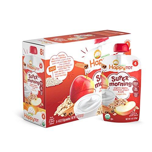 Happy Tot Organic Stage 4 Super Morning, Apple Cinnamon, Yogurt, & Oats + Super Chia, 4 Ounce (Pack of 8)