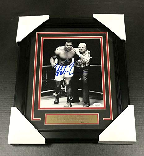 (IRON MIKE TYSON With Cus D'Amato AUTOGRAPHED SIGNED 8X10 PHOTO FRAMED JSA COA)