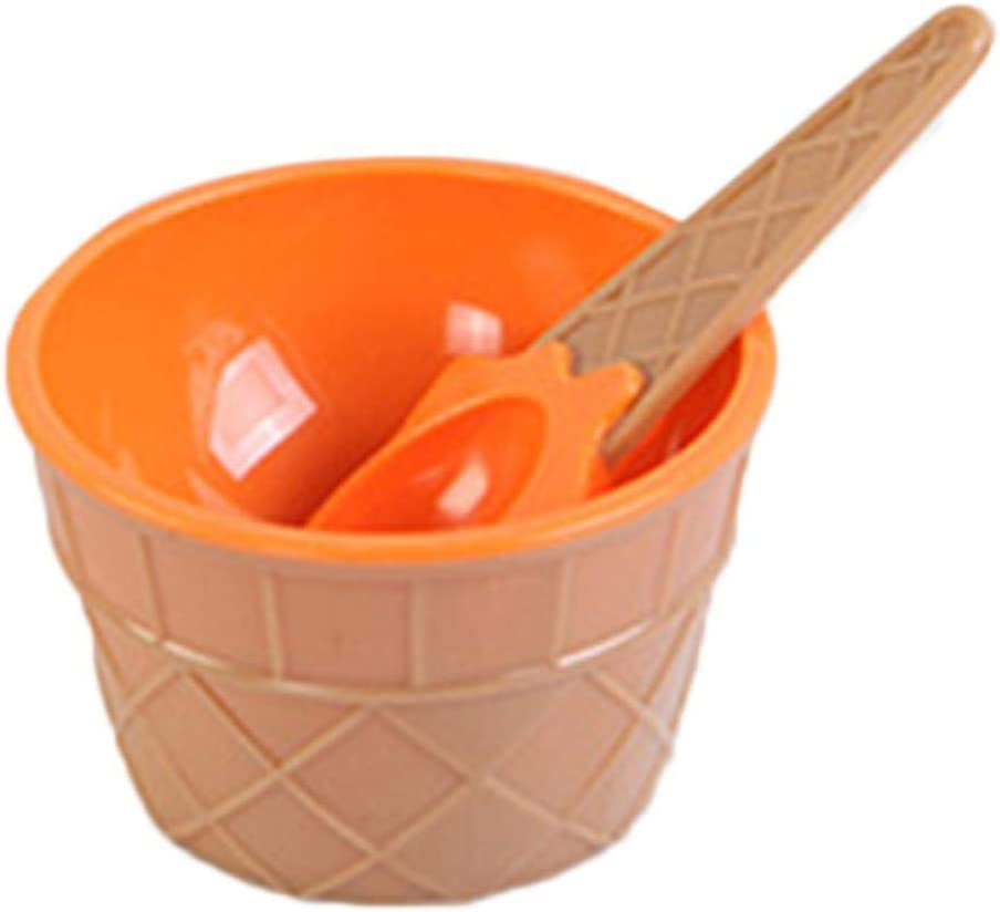 Kids Cartoon Candy Color Ice Cream Bowl with Spoon Ice Cream Tool Dessert Cup 1PC