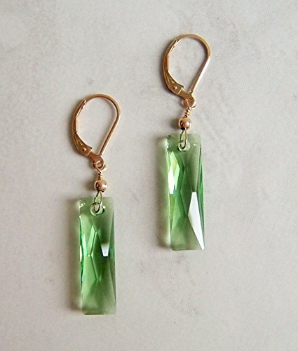 Simulated Peridot August Birthstone Baguette Crystal Gold Filled Leverback Earrings Special Day Gift Idea (Baguette Earrings Green)