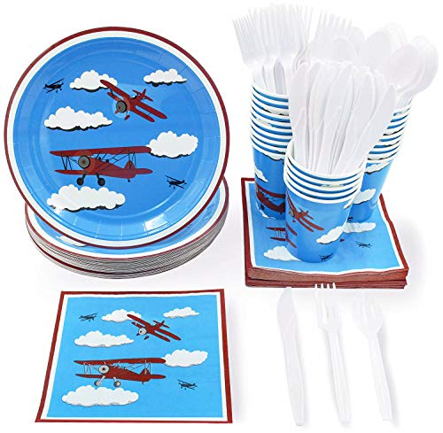 (Airplane Party Supplies - Serves 24 - Includes Plates, Knives, Spoons, Forks, Cups and Napkins. Perfect Airplane Party Pack for Kids Airplane Themed)