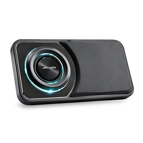 ARCHEER Ultra Slim Bluetooth Speakers with Radio and Phone Stand, Portable Pocket Mini Speakers with LED Light, Aux-in, Build-in Microphone, Compatible iPhone Samsung iPad Tablet Computer - Black