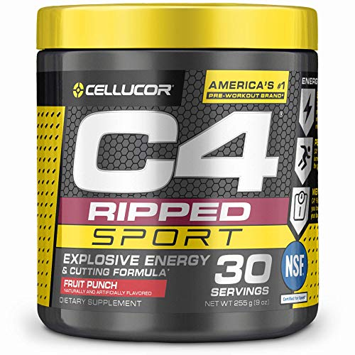 C4 Ripped Sport Pre Workout Powder Fruit Punch   NSF Certified for Sport + Sugar Free Preworkout Energy Supplement for…