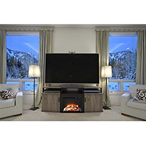 120 V Altra Sonoma Oak Carson 70 inch Romantic Fireplace TV Console with UltraFlame Reflectors and Durable LED Lights Combine to Create The Surreal Illusion of Flaming Embers