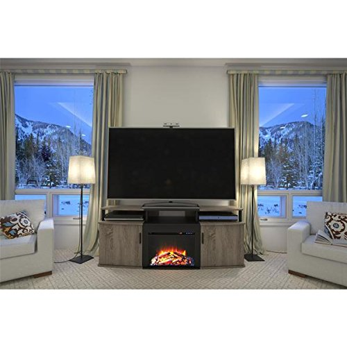 120 V Altra Sonoma Oak Carson 70 inch Romantic Fireplace TV Console with UltraFlame Reflectors and Durable LED Lights Combine to Create The Surreal Illusion of Flaming Embers by Ameriwood Home
