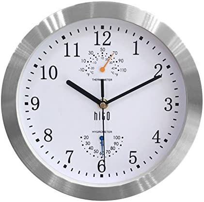 hito Modern Silent Wall Clock Non ticking 10 inch Excellent Accurate Sweep Movement Silver Aluminum Frame Glass Cover, Decorative for Kitchen, Living Room, Bedroom, Bathroom, Bedroom, Office White