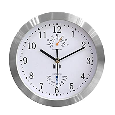 hito Modern Silent Wall Clock Non Ticking 10 inch Excellent Accurate Sweep Movement Silver Aluminum Frame Glass Cover… - hito non ticking wall clock uses superior sweeping movement to guarantee true silence with the smooth second hand, time accuracy and stable performance in its long life. hito sells truly silent clocks. hito colorful wall clocks come with large white numbers and hands, while white clocks come with huge black numbers and hands. And yes, glass front cover. All this makes hito wall clock beautiful, stylish and easy to read. hito modern silent wall clocks also serve as kitchen, living room, bathroom, bedroom and office wall decor. - clocks, bedroom-decor, bedroom - 51WWPAMJ9UL. SS400  -