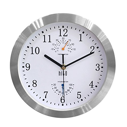 Bath Aluminum Wall Clock - HITO Silent Non-ticking Wall Clock- Aluminum Frame Glass Cover, 10 inches (White)