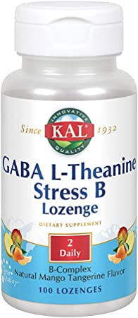 KAL GABA L-Theanine Stress B Lozenge | Healthy Relaxation, Mood & Focus Support | Natural Mango Tangerine Flavor | 100ct