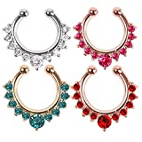 Pack of 4pcs Clip on Jewelry Creative Fake Septum Clicker Nose Ring (6)