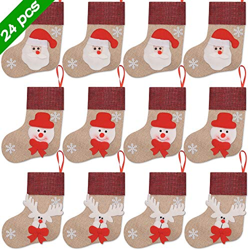 Ivenf Christmas Mini Stockings, 24 Pcs 7 inches Burlap 3D Santa Snowman Reindeer Stockings, Gift Card Silverware Holders, Bulk Treats for Neighbors Coworkers Cats Dogs, Small Rustic Xmas Tree Décor (Best Homemade Christmas Gifts For Coworkers)