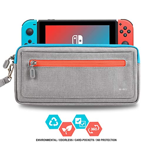 - WIWU Slim Nintendo Switch Case, Portable Waterproof Switch Protective Travel Carrying Storage Bag with Game Slots Holder for Nintendo Switch Console & Accessories,Gray