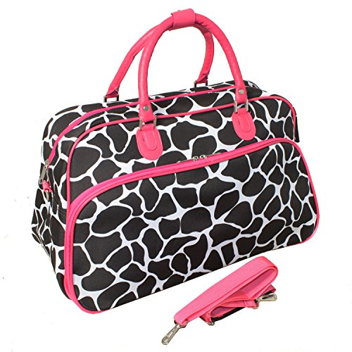 Giraffe Trim - World Traveler 21-Inch Carry-On Shoulder Tote Duffel Bag, Fuchsia Trim Giraffe, One Size