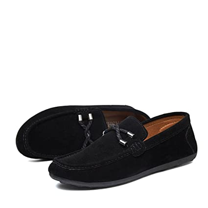 89a7a70f02a Termee Men Moccasins Loafers Leather Shoes Men Flats Gommino Driving Shoes  Black 7