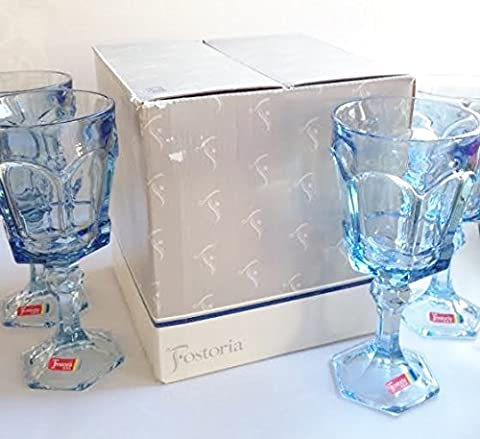 Vintage Fostoria Glass Light Blue Virginia Heavy Lead Crystal Water Goblet Glass Discontinued 1986 (Set of 4 in Gift Box)