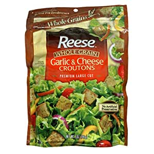Reese Whole Grain Croutons, Cheese Garlic, 5-Ounce Packages (Pack of 12)