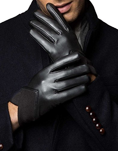 yiseven-mens-touchscreen-genuine-leather-dress-driving-gloves-with-fleece-liner-black-medium-85