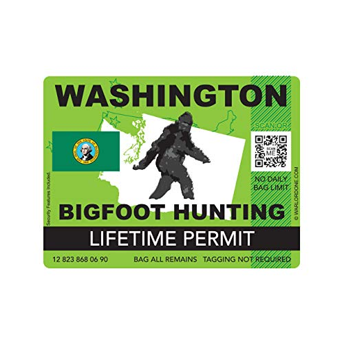 fagraphix Washington Bigfoot Hunting Permit Sticker Die Cut Decal Sasquatch Lifetime FA Vinyl - 4.00 Wide