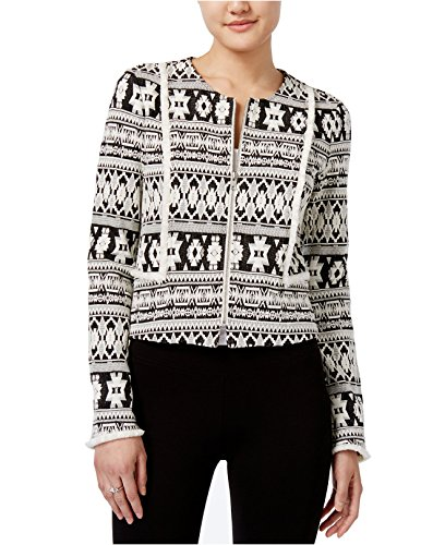 Bar III Women's Printed Jacquard Cropped Jacket (XX-Small, Washed White Combo)