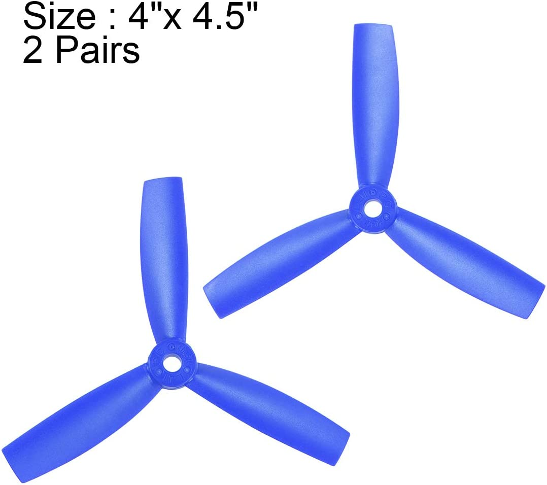 uxcell RC Propellers 4045 4x4.5 Inch CW CCW 3-Vane for Quadcopter Multirotor Blue 2 Pairs