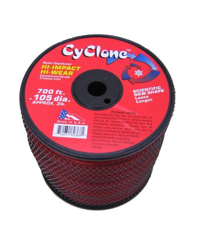Cyclone .105-Inch 3-Pound Spool Commercial Grade 6-Blade Grass Trimmer Line, Red CY105S3-2 ()