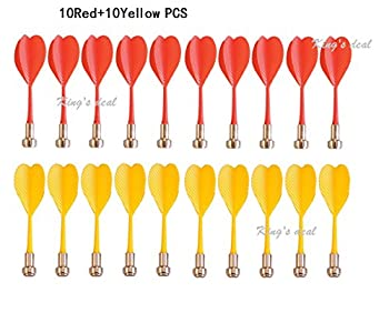 King's deal-TM 20pcs Replacement Durable Safe Plastic Wing Magnetic Darts Bullseye Target Game Toys (10Red+10Yellow)