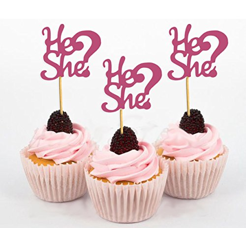12d Cup - Darling Souvenir, He She? Gender Reveal Baby Shower Cupcake Toppers, Dessert Decorations - Pack Of 20