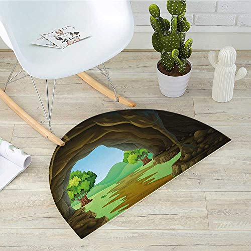 Cave Semicircle Doormat Rock Shelter in Countryside with Distant Hills Green Trees and Lawn Halfmoon doormats H 19.7