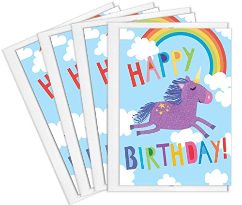 Tiny Expressions Girl's Unicorn Happy Birthday Greeting Card (4 Pack)