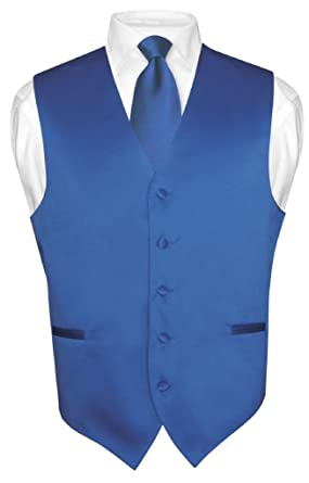 Men's Dress Vest & NeckTie Solid ROYAL BLUE Color Neck Tie Set for
