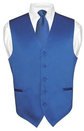 Men's Dress Vest & NeckTie Solid ROYAL BLUE Color Neck Tie Set for ...