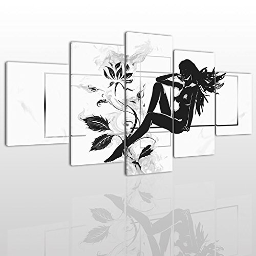 Abstract Naked Girl Canvas Wall Art Painting Modern Design Picture For Home Office Decor - 5 Pieces Flower Black And White Framed On Wooden Frame Image Pictures Photo Artwork Decoration Ready To Hang (Black And White Art Design)