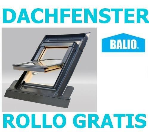 Dachfenster Balio Schwingfenster mit Eindeckrahmen und Rollo ( Verdunkelungsrollo ) 78x134 cm (VKR Konzern Rooflite Velux)