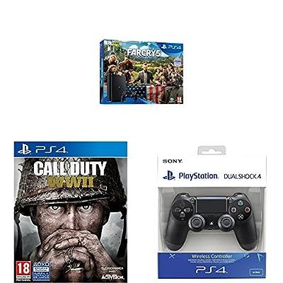 Playstation 4 (PS4) - Consola de 1 TB + Far Cry 5 + COD WWII + Dualshock 4 Mando Inalámbrico, Color Negro V2