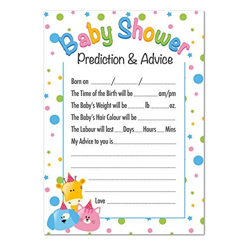 Baby Shower Prediction and Advice Game, Cute Animals Theme by Ezstickers by EZ Stickers