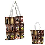 "Wine shopping tote bag Wine Themed Collage on Wooden Backdrop with Grapes and Meat Rustic Country Drink pocketable shopping bag Brown Black Red. 14""x16""-11"""