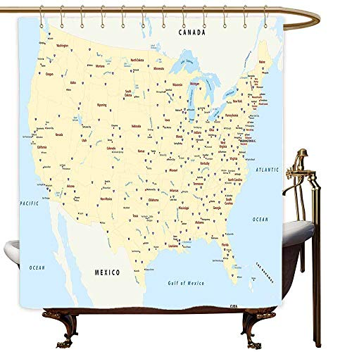 (MaryMunger Womens Shower Curtain Map United States Interstate Map America Cities Travel Destinations Road Route Metal Build W55x84L Yellow Red Light Blue )