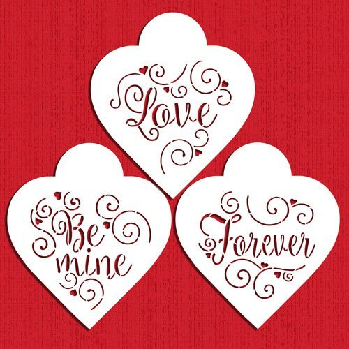 Designer Stencils C958 Love, Be Mine, Forever Hearts Cookie Stencil Set