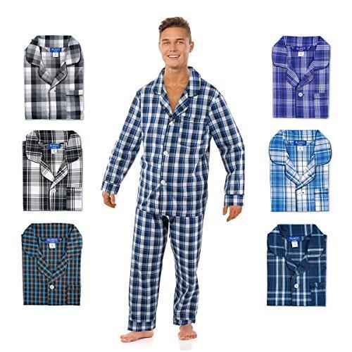Bill Baileys Mens Long Woven Pajamas Set Button Front Down Long Sleeve Pajama