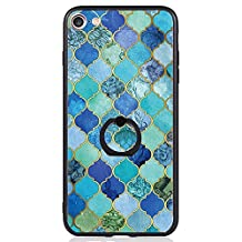 iPhone 7 Case, SwiftBox Clear Black Design Built-in Ring Kickstand Coated Premium Non Slip Surface Case for iPhone 7 with Tempered Glass Screen Protector (Blue)