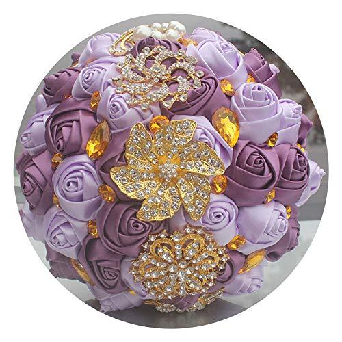 Fantastic-Journey Gold Bright Diamond Silk Wedding Bouquet RoyalBlue Ribbon Bouquets de Noiva Handmade Satin Bouquet Multiple Color,18cm Grape and Lilac