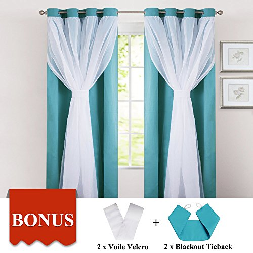 PONY DANCE Sheer Blackout Curtains - Thermal Insulated Grommet Top Curtain Drapes/Window Treatments Bedrooms, 52